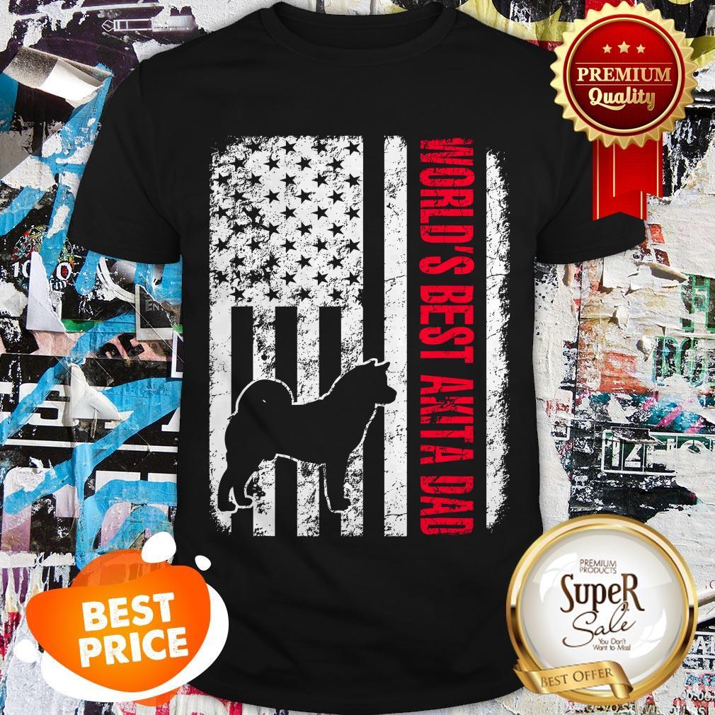 Nice World's Best Akita Dad American Flag Shirt