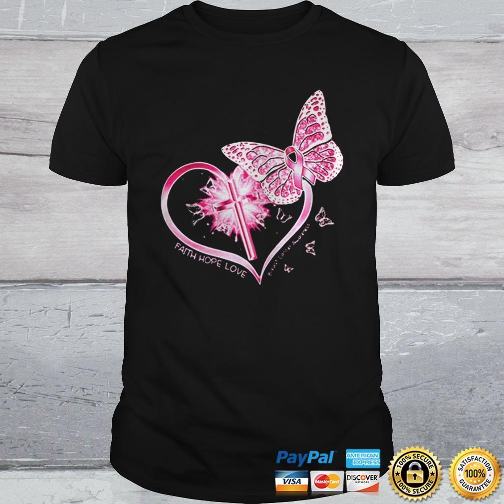 Butterflies heart faith hope love breast cancer awareness shirt 2 Shirt