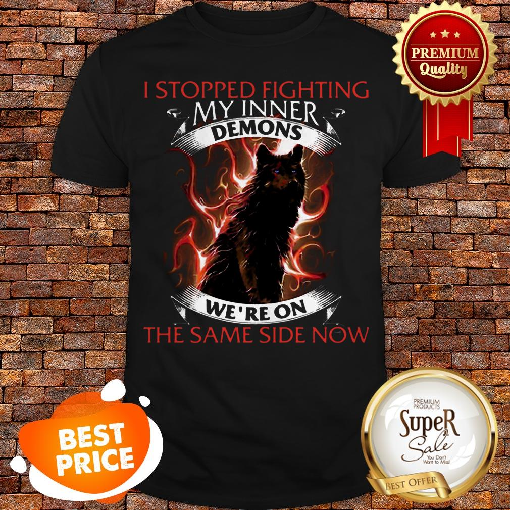Wolf I Stopped Fighting My Inner Demons We're On The Same Side Now Shirt
