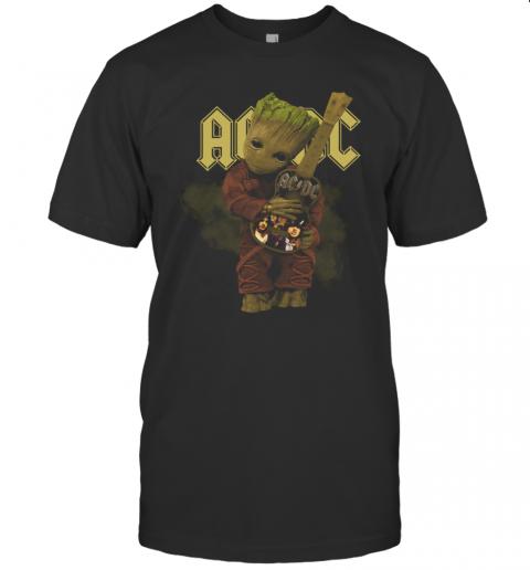 Baby Groot Hug ACDC Guitar T-Shirt Classic Men's T-shirt
