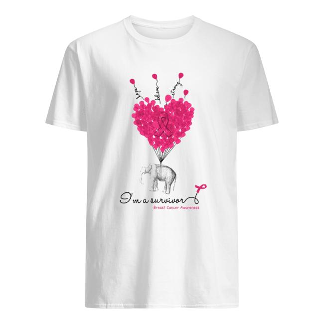 Elephant Heart Hope Believe Strong I'm A Survivor Breast Cancer Awareness  Classic Men's T-shirt