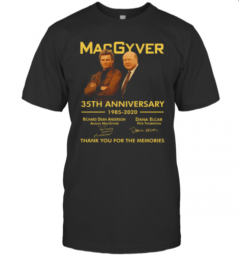 Macgyver 35Th Anniversary Thank You For The Memories Signatures T-Shirt Classic Men's T-shirt