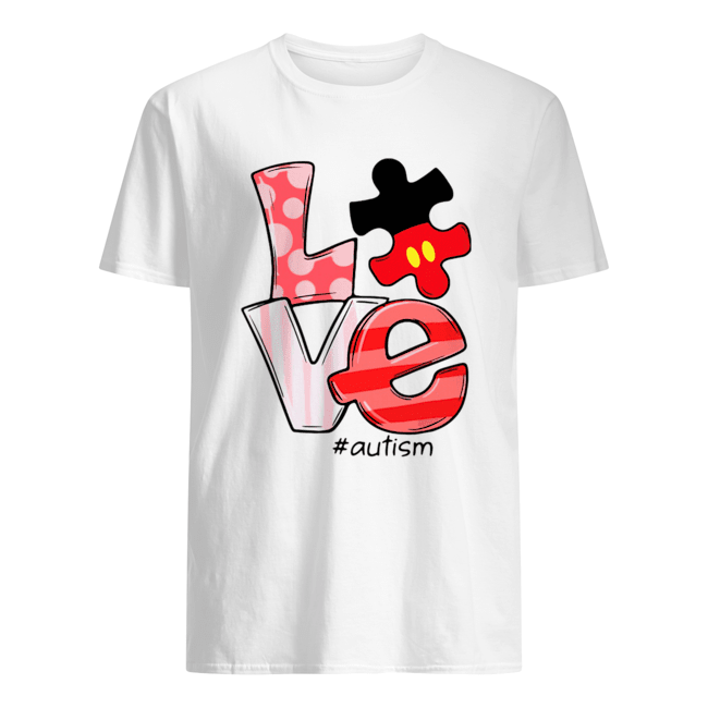 Mickey Mouse Love Autism  Classic Men's T-shirt