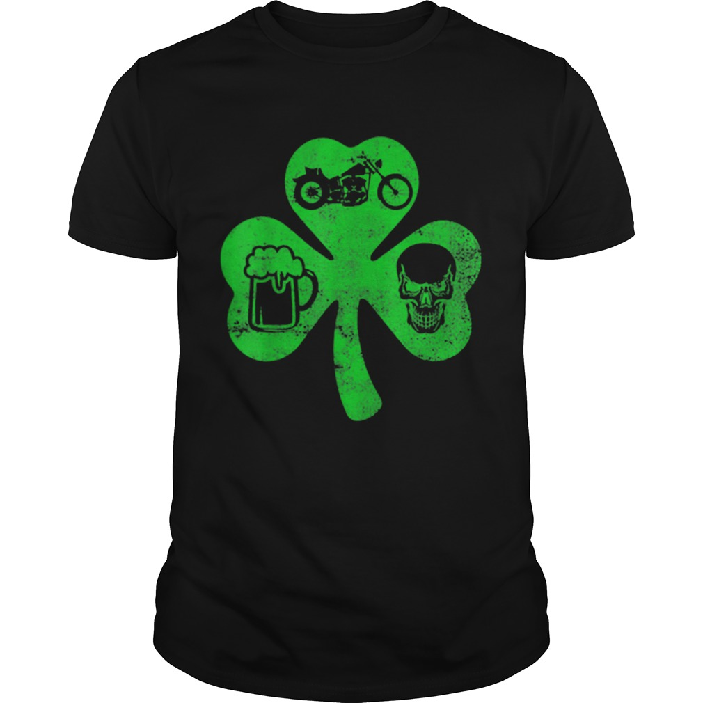 Motorcycle St Patricks Day Lucky Biker Beer Skull  Unisex