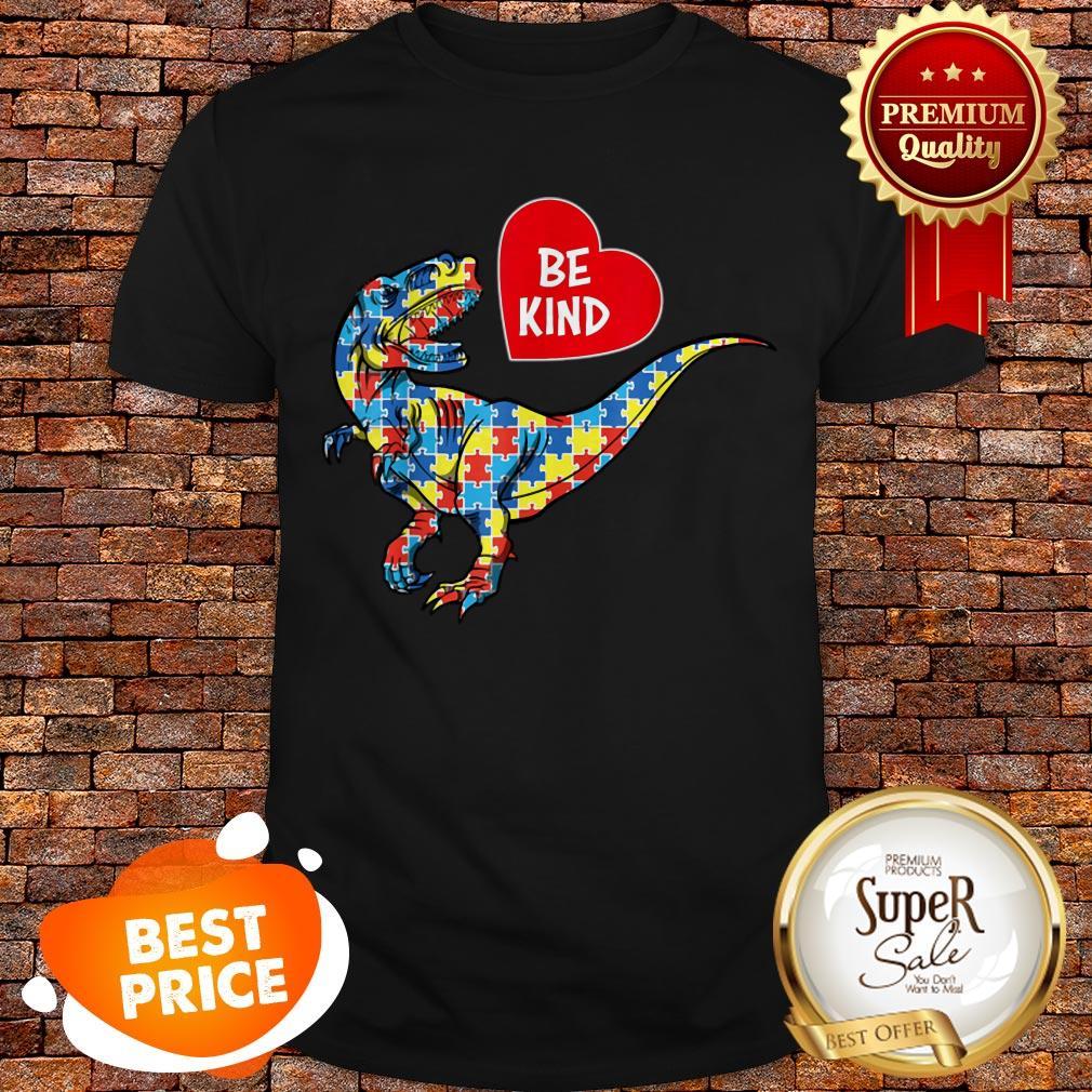 Nice Autism Awareness TRex Dinosaur Be Kind Puzzle Gift Men Women Shirt