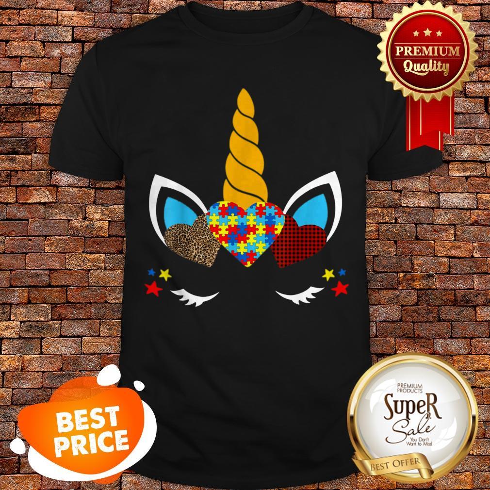 Nice Autism Awareness Unicorn Face Leopard Print Hearts Shirt