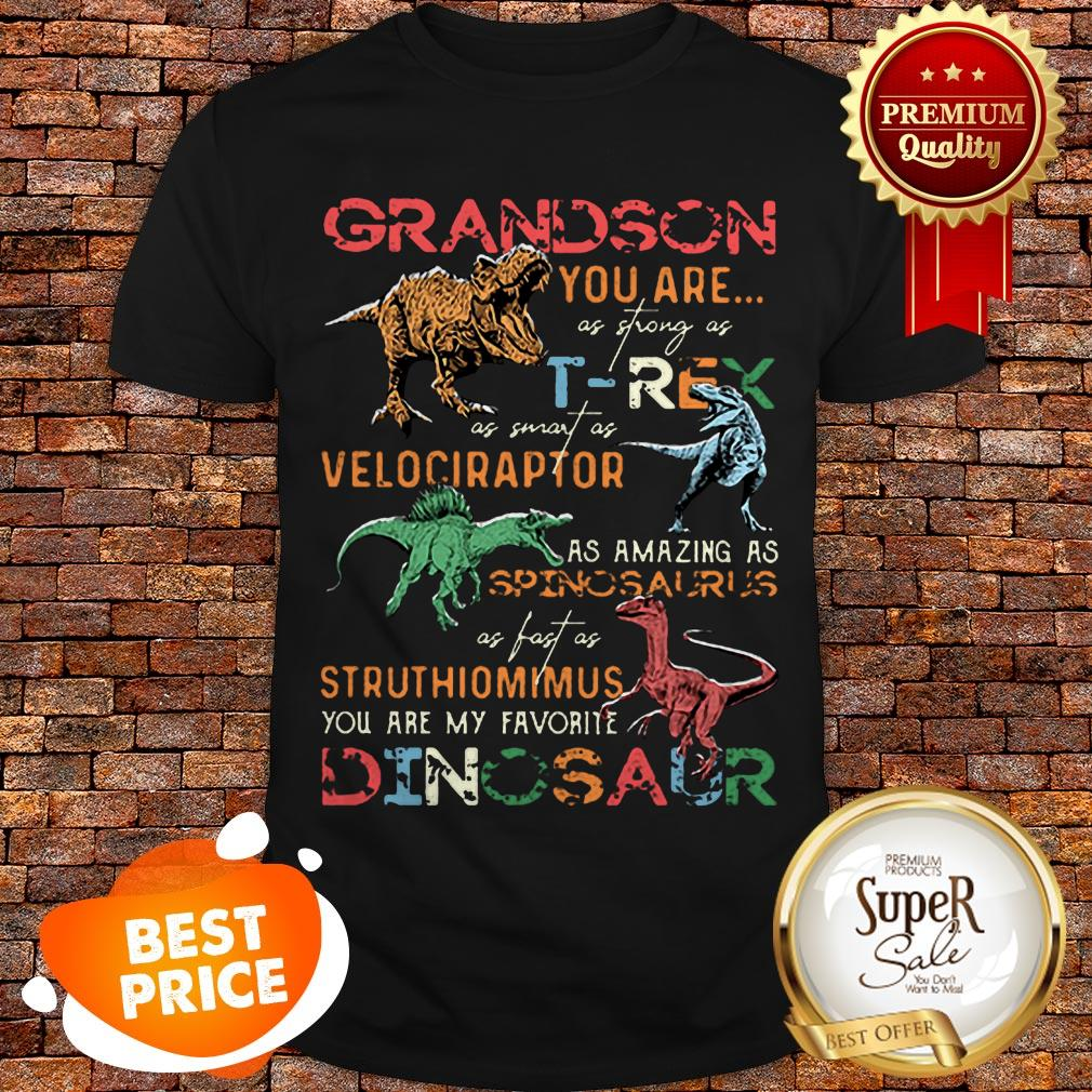 Nice Dinosaur Grandson You Are As Strong As T-Rex As Smart As Velociraptor Shirt