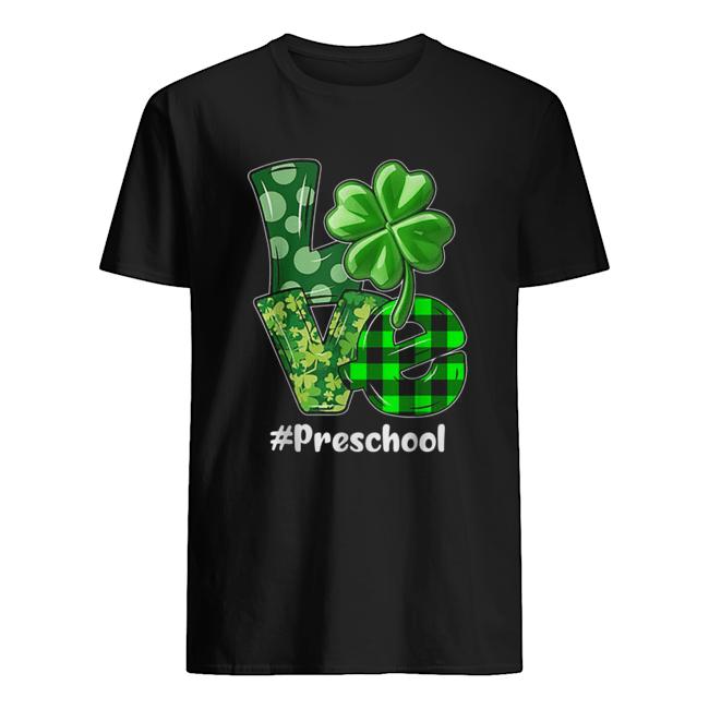 Nice Love Preschool Plaid St Patrick's Day Shamrock  Classic Men's T-shirt