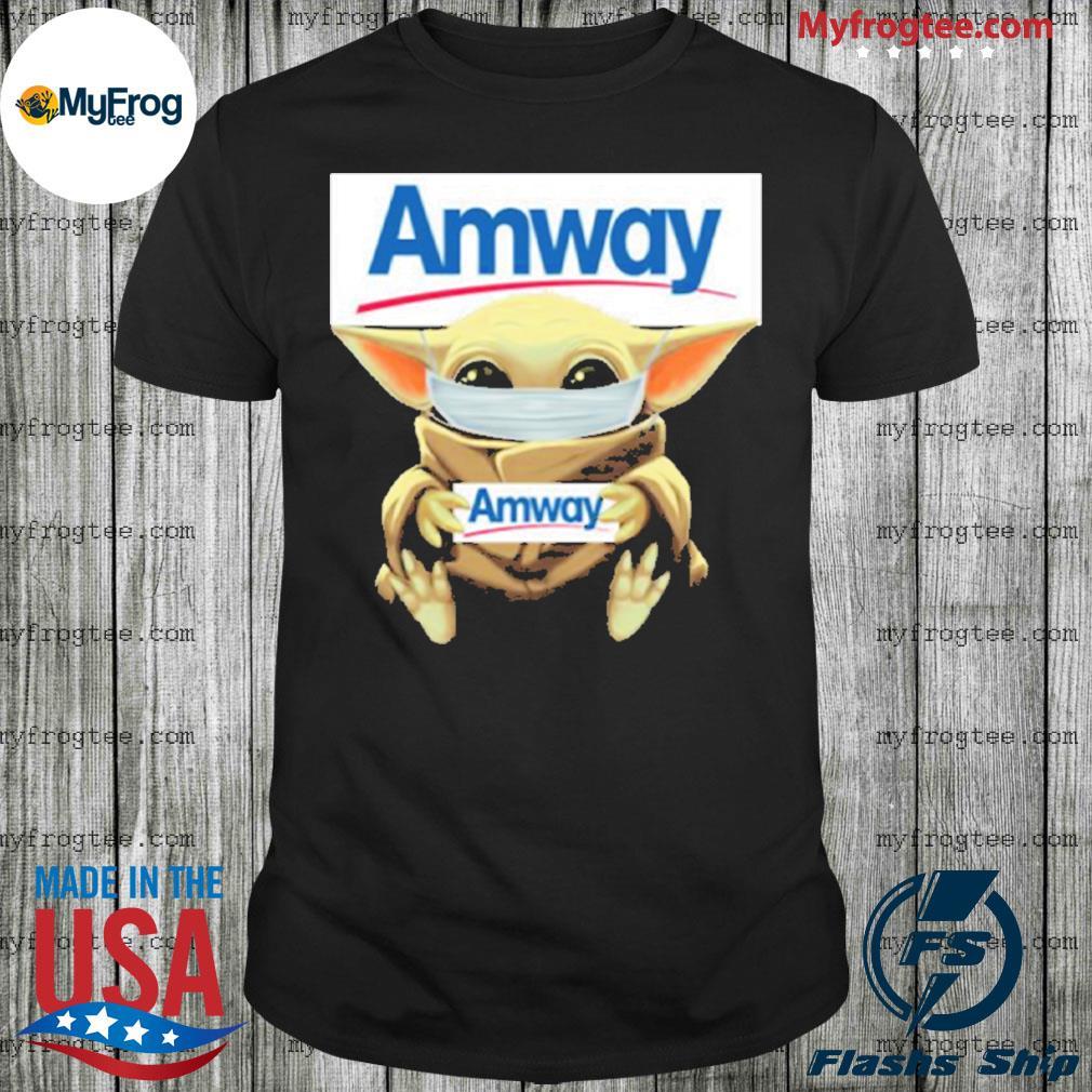 Baby yoda face mask hug Amway I can't stay at home shirt