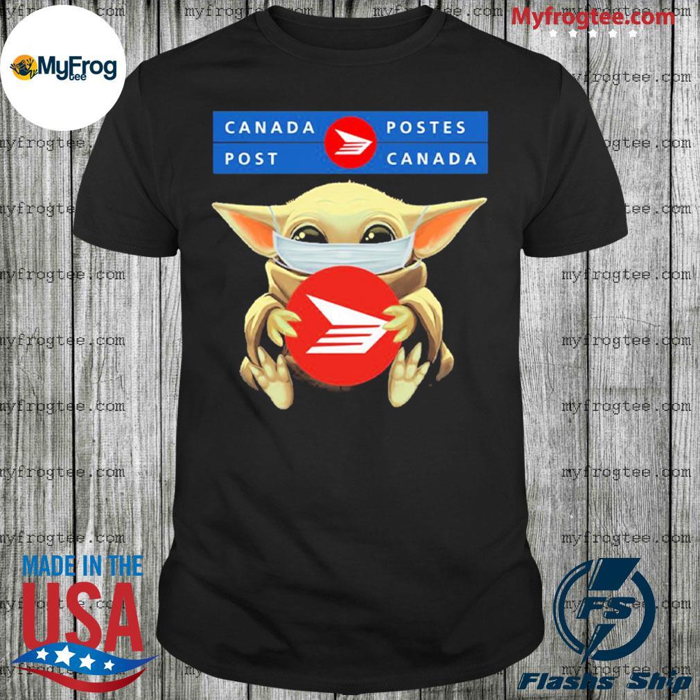 Baby Yoda face mask hug Canada Postes I can't stay at home shirt