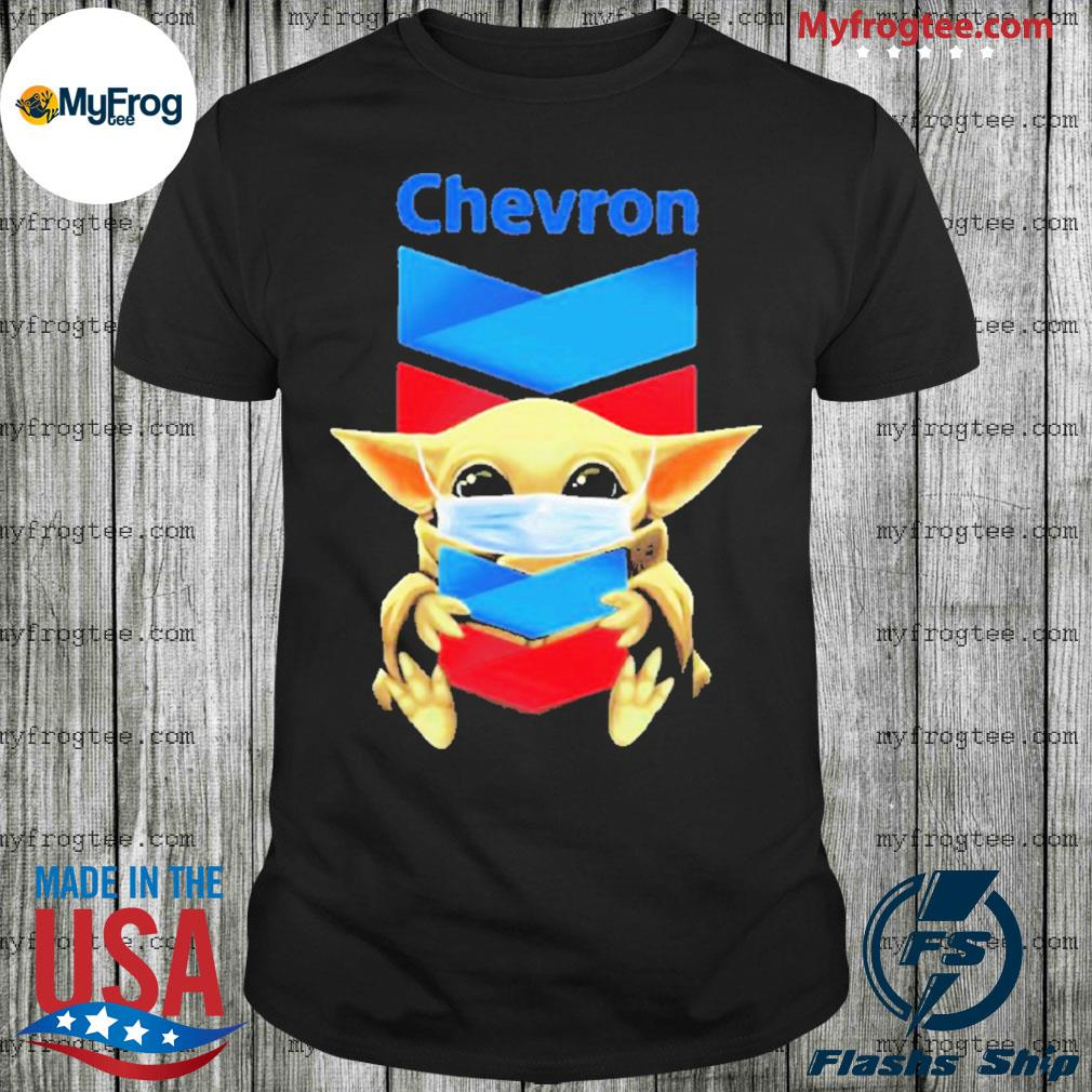 Baby yoda face mask hug Chevron I can't stay at home shirt