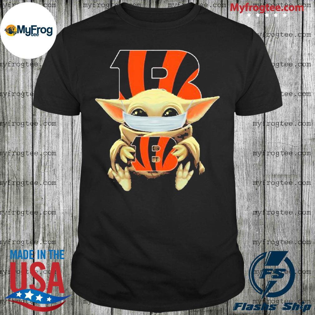 Baby Yoda face mask hug Cincinnati Bengals I can't stay at home shirt