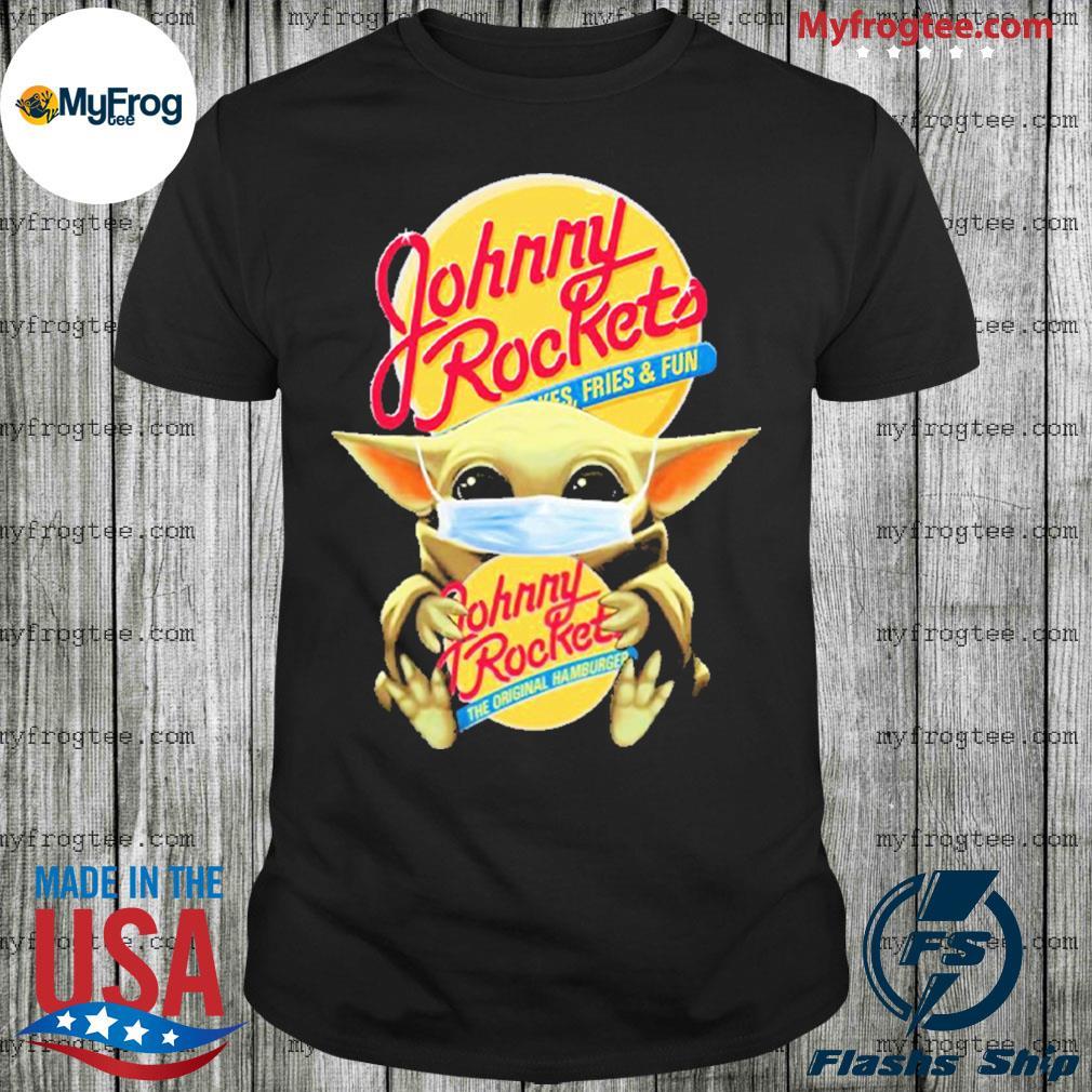 Baby Yoda face mask hug Johnny Rockets Hamburger I can't stay at home shirt