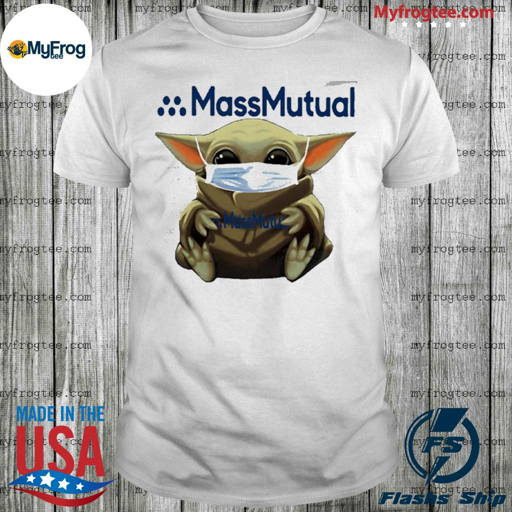 Baby yoda face mask hug Massmutual shirt