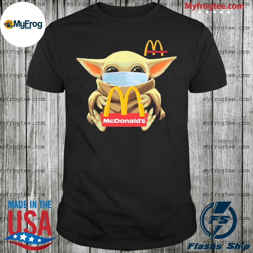 Baby yoda face mask hug McDonald's shirt
