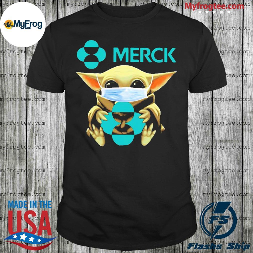 Baby Yoda face mask hug Merck I can't stay at home shirt
