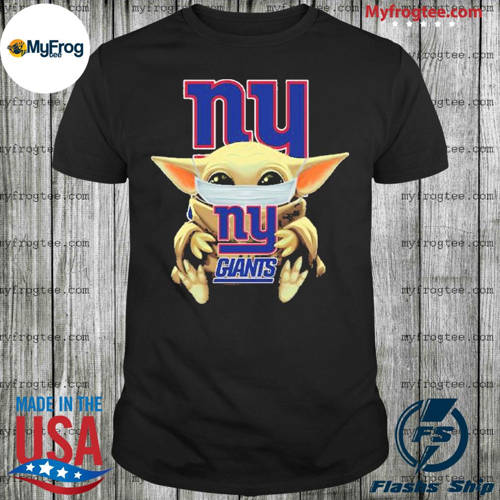 Baby Yoda face mask hug New York Giants I can't stay at home shirt