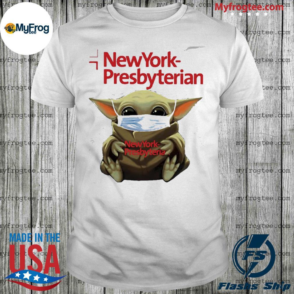 Baby yoda face mask hug new york presbyterian shirt