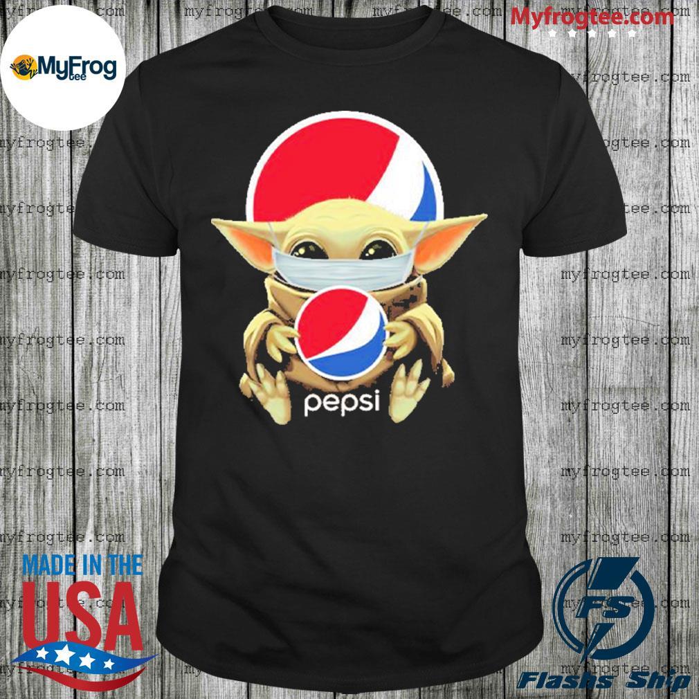 Baby yoda face mask hug Pepsi I can't stay at home shirt