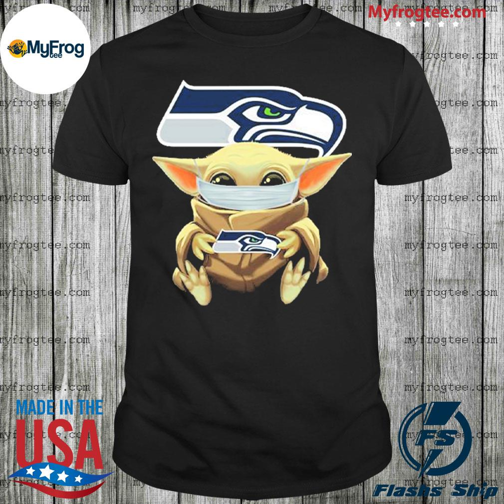 Baby Yoda face mask hug Seattle Seahawks I can't stay at home shirt