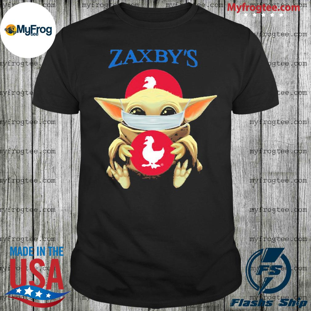Baby yoda face mask hug Zaxby's I can't stay at home shirt