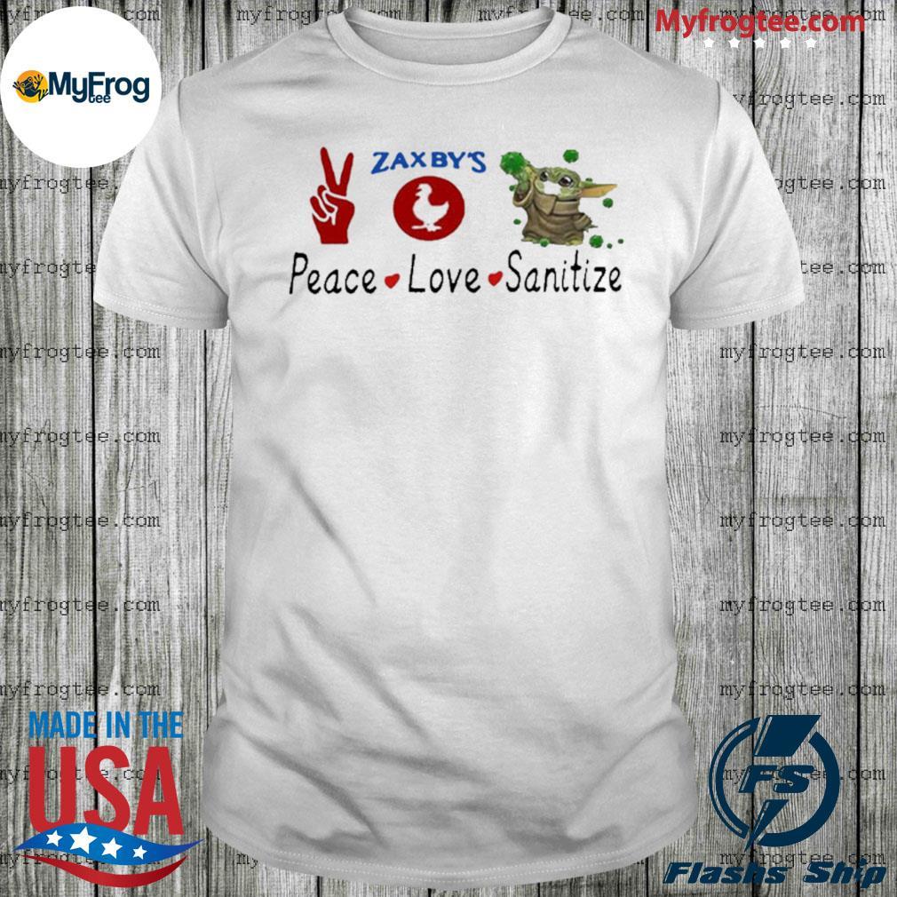 Baby Yoda peace love sanitize zaxby's shirt