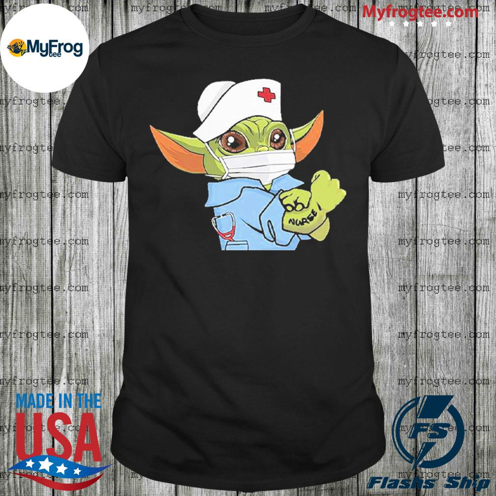 Baby Yoda Wearing Scrub Nurse Strong Shirt
