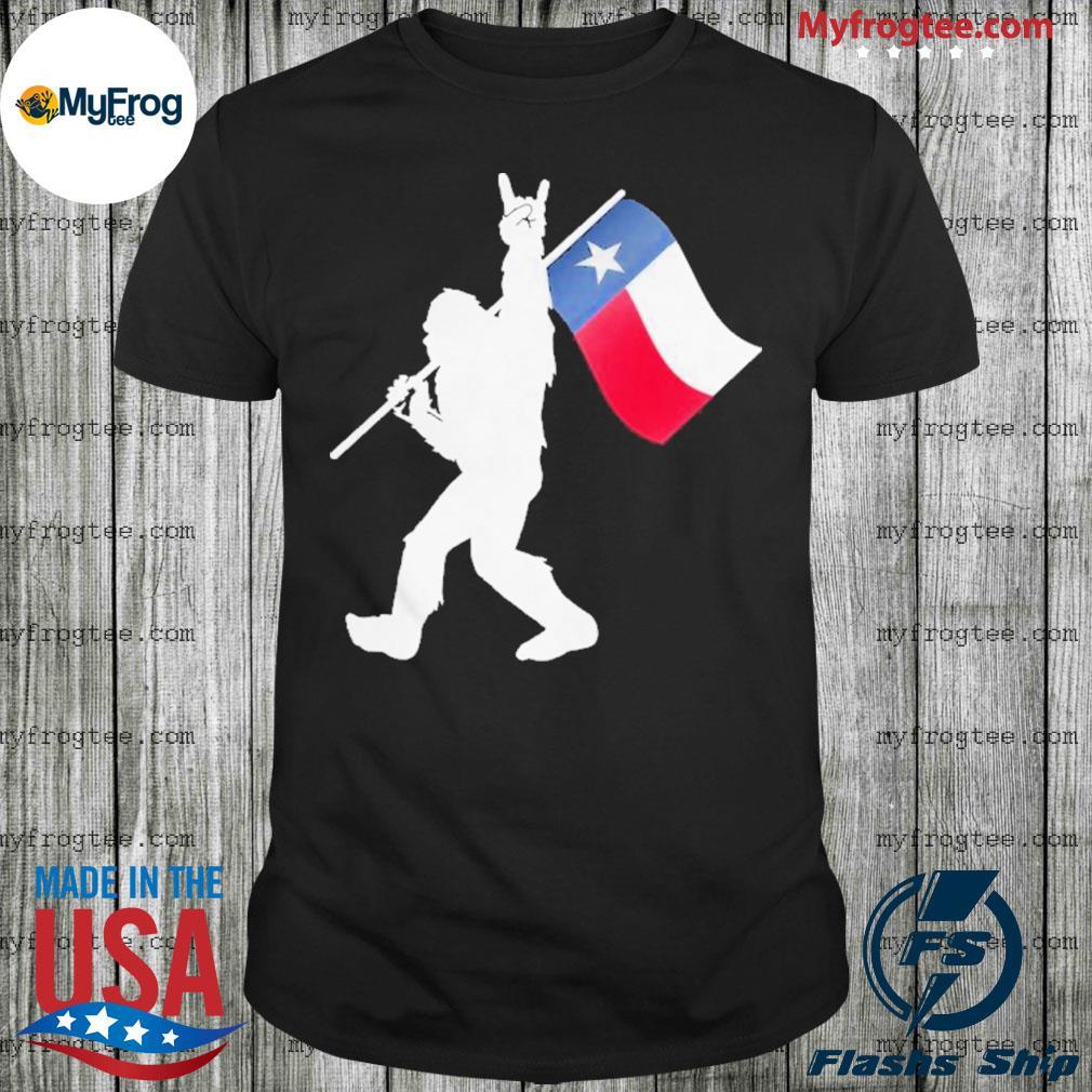 Bigfoot Rock And Roll Texas Flag Shirt