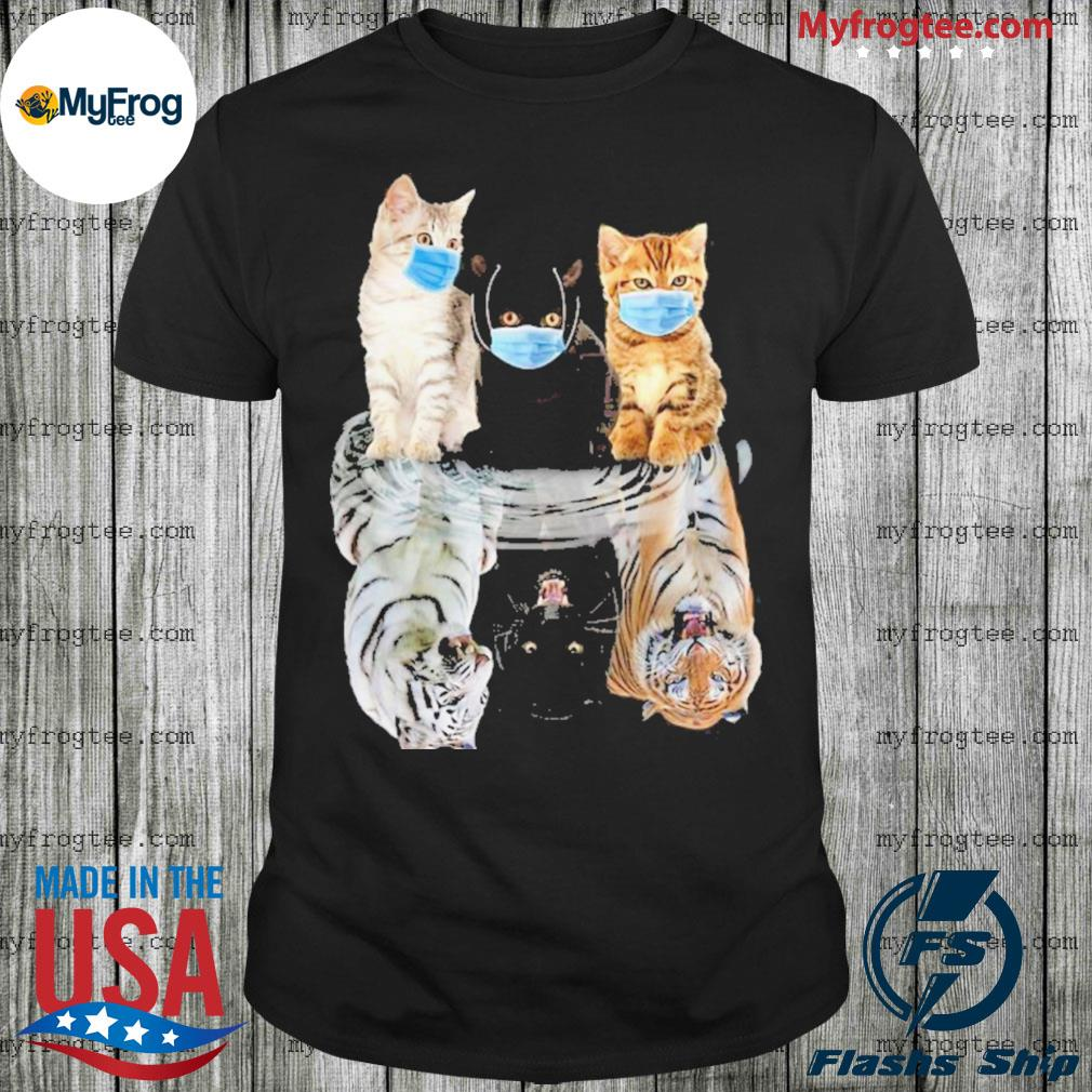 Cats face mask water mirror reflection tigers shirt