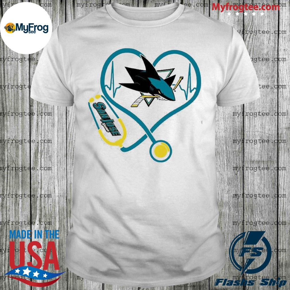 San Jose Sharks Nurse Stethoscope heartbeat shirt