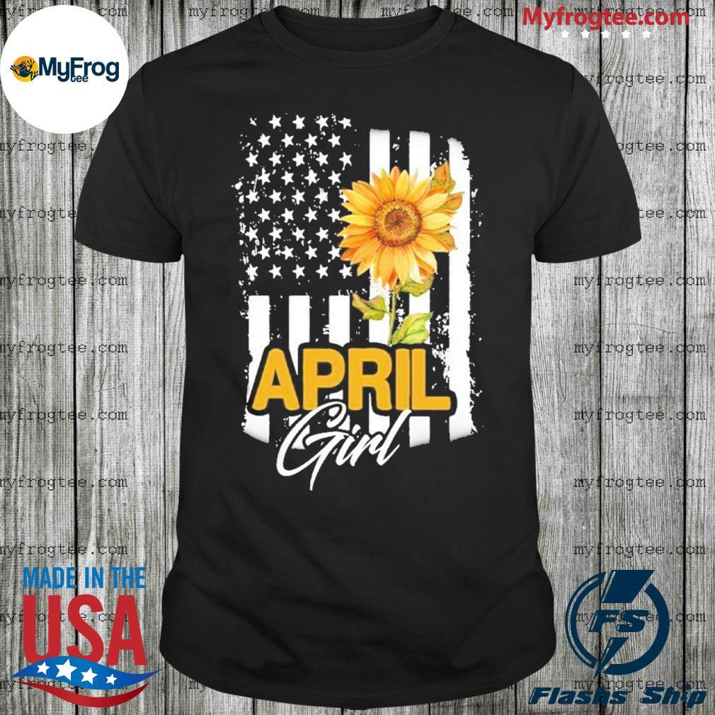 Sunflowers American flag April girl shirt