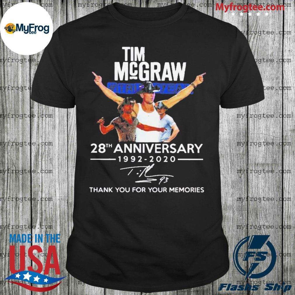 Tim Mcgraw 28th anniversary 1992 2020 thank you for your memories shirt